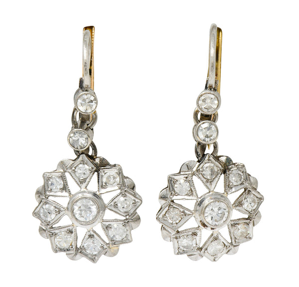 Art Deco 0.85 CTW Diamond 18 Karat Two-Tone Gold Drop Earrings