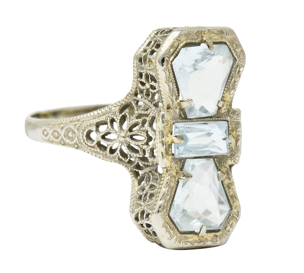 Art Deco Aquamarine 14 Karat White Gold Three Stone Dinner Ring