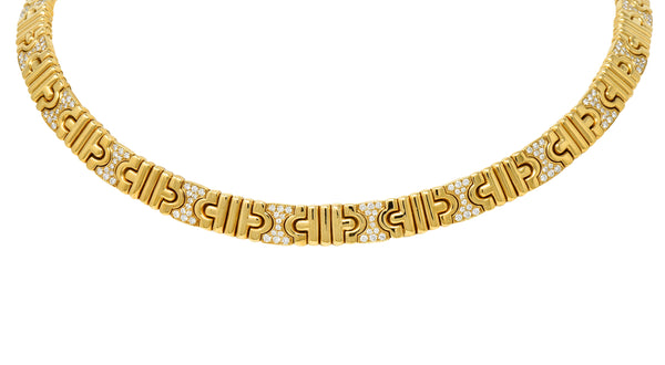 Bulgari Italian Diamond 18 Karat Gold Parentesi Collar Necklace