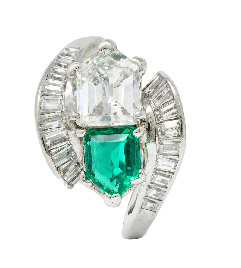 1950's Mid-Century 3.46 CTW Diamond Emerald Platinum Cocktail Ring