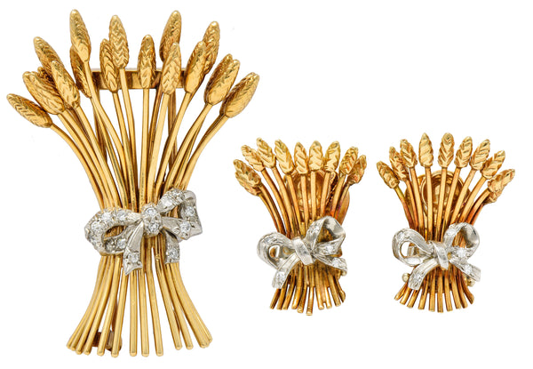 Verdura Retro Diamond 14 Karat Gold Wheat Earrings & Brooch