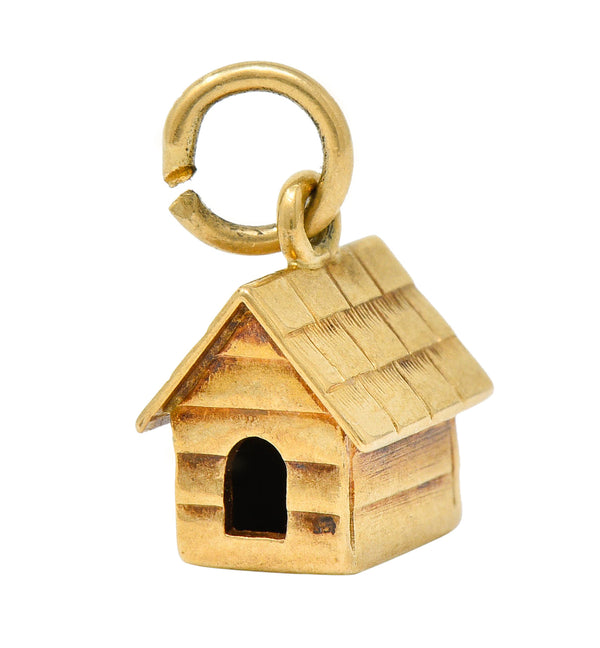 Retro 14 Karat Gold Doghouse Charm Circa 1950
