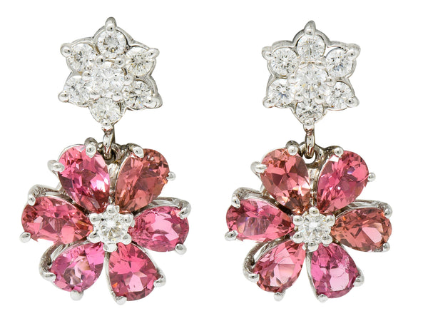 Contemporary Pink Tourmaline Diamond 18 Karat White Floral Cluster Drop Earrings