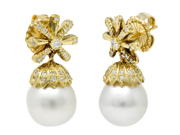 Contemporary 1.15 CTW Diamond Cultured Pearl 18 Karat Gold Drop Earrings