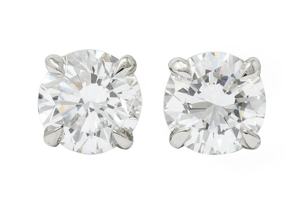 Contemporary 1.65 CTW Diamond Platinum Stud Earrings GIA