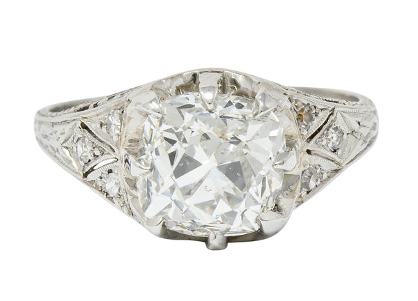 Art Deco 3.16 CTW Diamond Platinum Engagement Ring GIA