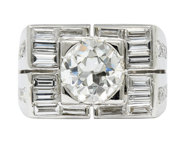 Van Cleef & Arpels 4.19 CTW Diamond Platinum Unisex Channel Set Ring GIA - Wilson's Estate Jewelry
