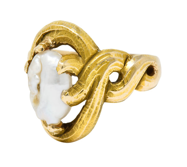 Art Nouveau Baroque Pearl 14 Karat Gold Whiplash Ring