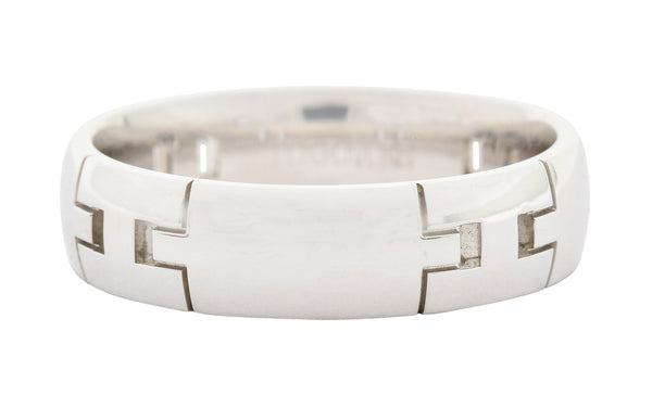Hermes French 18 Karat White Gold Unisex H Band Ring