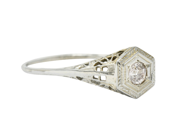 Art Deco Fancy Light Pink Diamond 14 Karat White Gold Engagement Ring