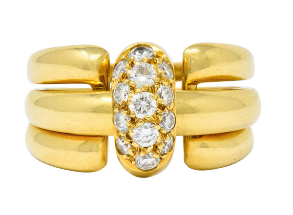 Van Cleef & Arpels Coral Diamond 18 Karat Gold French Convertible Stacking Ring - Wilson's Estate Jewelry