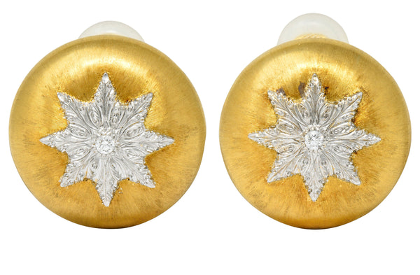 Buccellati Diamond 18 Karat Two-Toned Gold Snowflake Ear-Clip Earrings