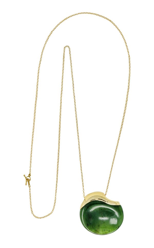 Elsa Peretti Tiffany & Co. Jade 18 Karat Gold Touchstone Pendant Necklace