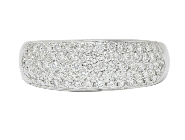Contemporary 1.10 CTW Pave Diamond Platinum Band Ring