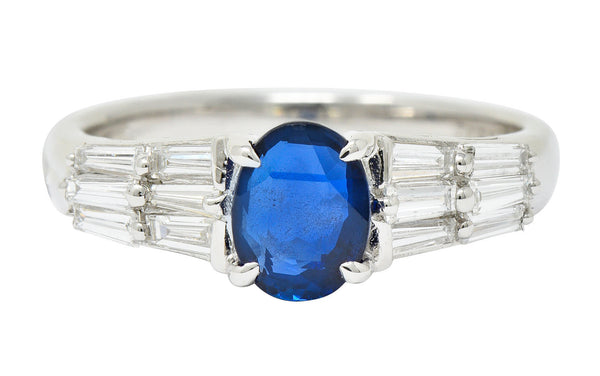 Contemporary 1.58 CTW No Heat Burma Sapphire Diamond Platinum Statement Ring GIA