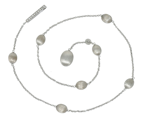 Nanis Diamond 18 Karat White Gold Italian Brushed Station Lariat Necklace