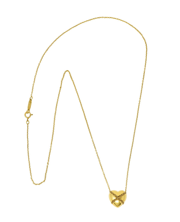 Tiffany & Co. Vintage 18 Karat Gold Cross My Heart Pendant Necklace