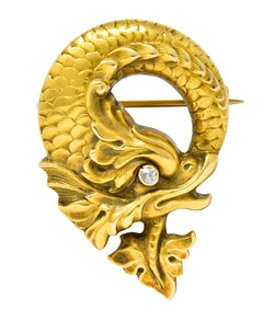 Art Nouveau Diamond 14 Karat Gold Sea Serpent Brooch