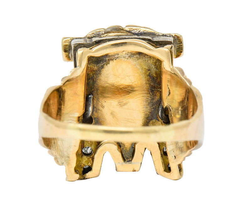 1920's Egyptian Revival Diamond Jasper Platinum-Topped 14 Karat Gold Pharaoh Ring