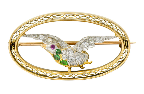 Bailey Banks & Biddle Demantoid Garnet Diamond Platinum-Topped 14 Karat Gold Dove Brooch