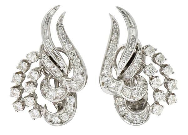 1950's Mid-Century 2.62 CTW Diamond Platinum Tendril Earrings