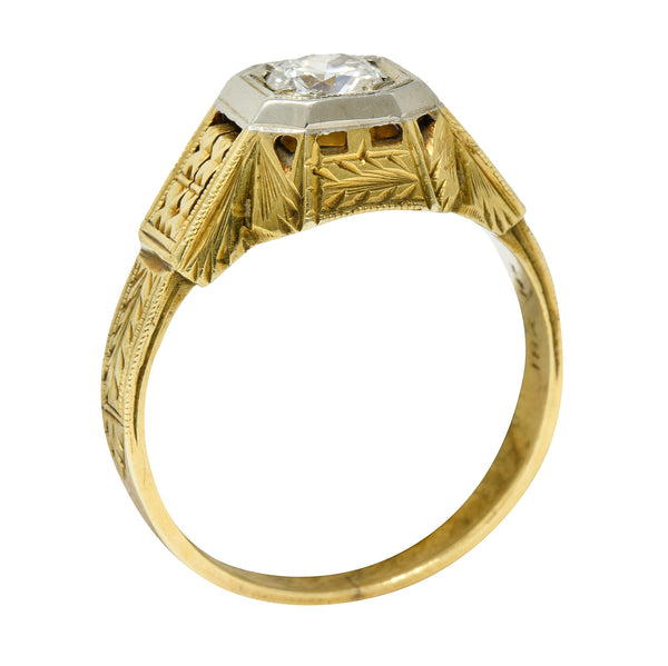 Art Deco Diamond 18 & 14 Karat Two Tone Gold Unisex Octagonal Ring