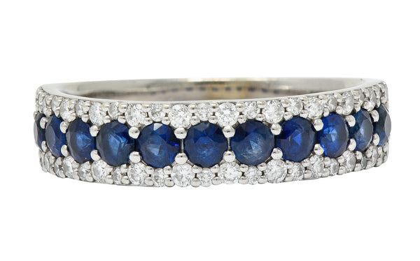 Contemporary 2.05 CTW Sapphire Diamond 14 Karat White Gold Band Ring