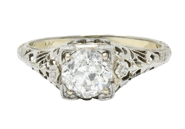 1930's Walter McKenna 1.00 CTW Diamond 18 Karat White Gold Floral Engagement Ring