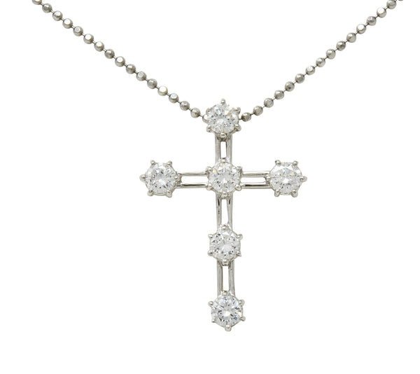 Contemporary 1.00 CTW Diamond Platinum Cross Pendant Necklace