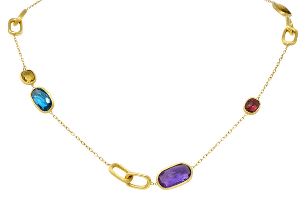 Marco Bicego Italian Multi-Gem 18 Karat Gold Murano Station Necklace