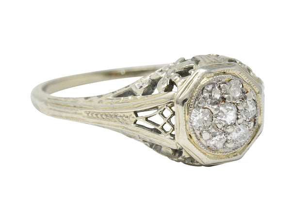 Art Deco Pave Diamond 18 Karat White Gold Butterfly Engagement Ring