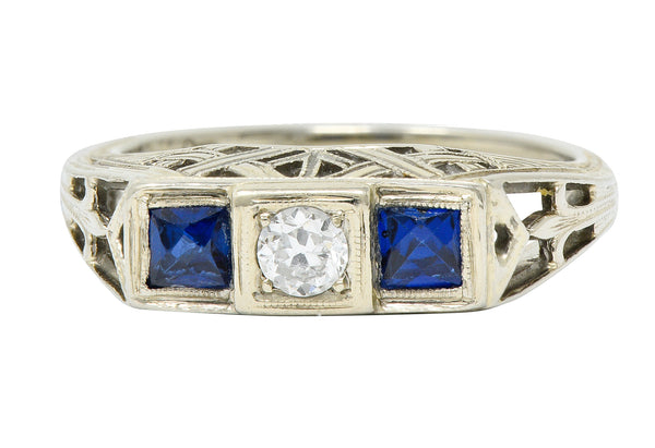 Art Deco 0.73 CTW Diamond Sapphire 19 Karat White Gold Band Ring