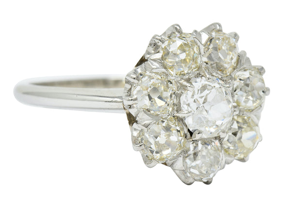 Edwardian 2.50 CTW Diamond Platinum Cluster Ring