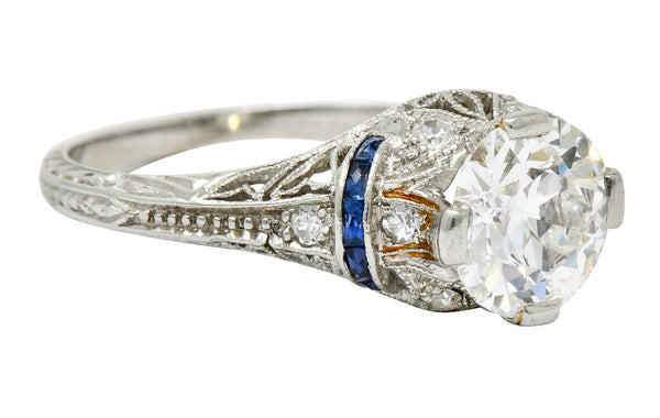 Art Deco 1.45 CTW Diamond Sapphire Platinum Engagement Ring