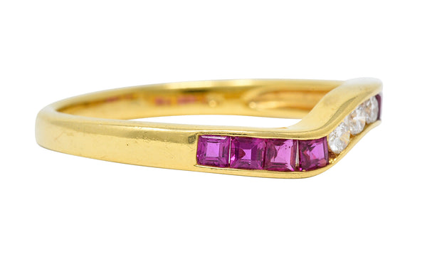 Contemporary 0.50 CTW Ruby Diamond 18 Karat Gold Chevron Band Ring