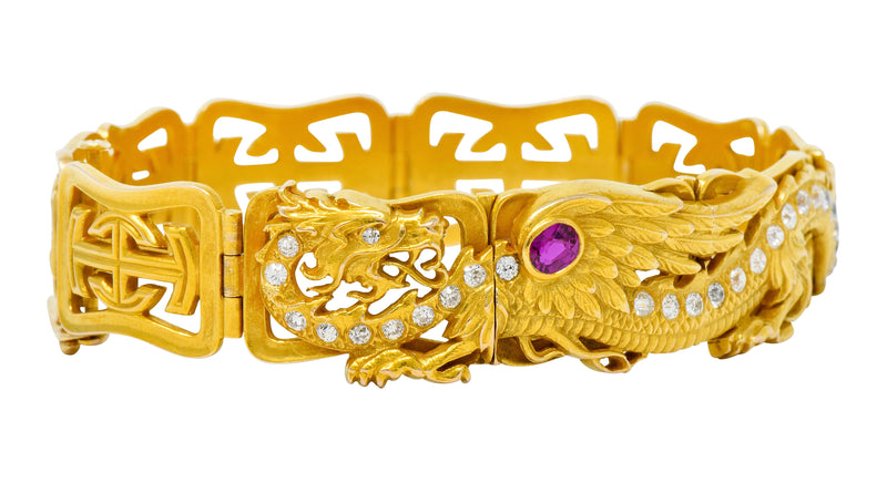 Riker Brothers. Art Nouveau Ruby Diamond 14 Karat Gold Serpent Dragon Bracelet