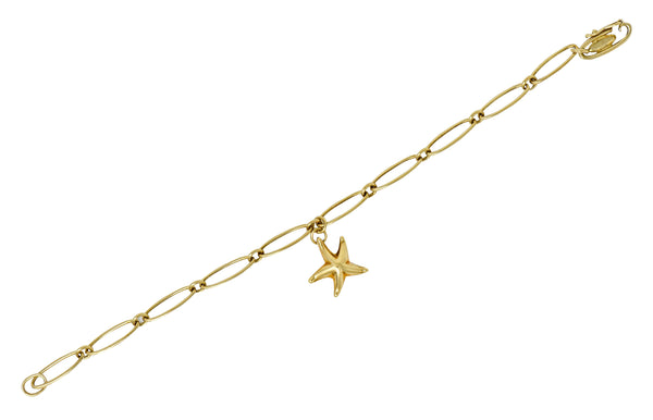 Elsa Peretti Tiffany & Co. Spain 18 Karat Gold Starfish Charm Bracelet - Wilson's Estate Jewelry