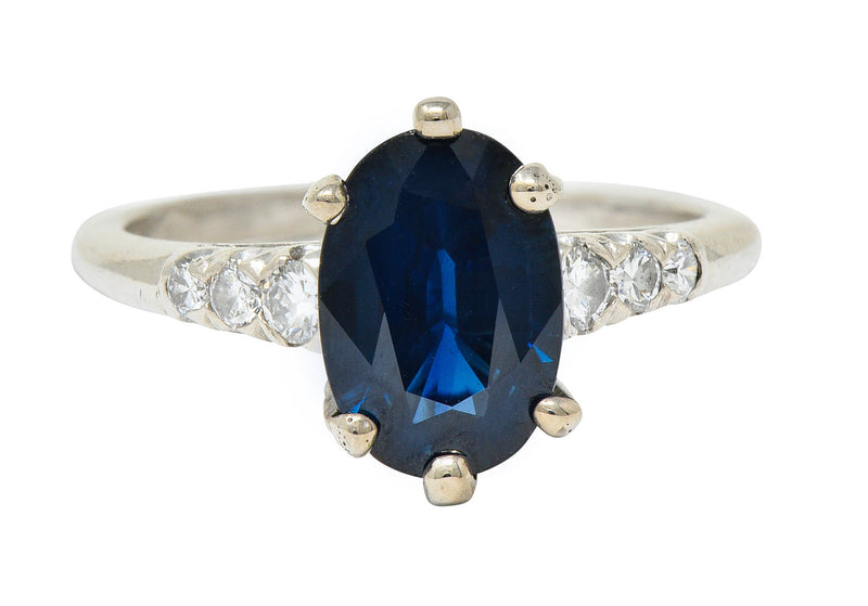 Vintage 2.05 CTW Sapphire Diamond Platinum Engagement Ring