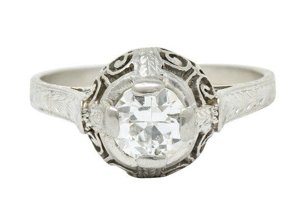 Art Deco 0.52 Carat Diamond Platinum Scrolled Foliate Engagement Ring
