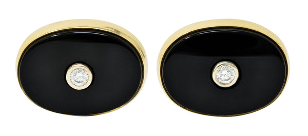 Lindsay & Co. Retro 0.25 CTW Diamond Onyx 14 Karat Gold Cufflinks