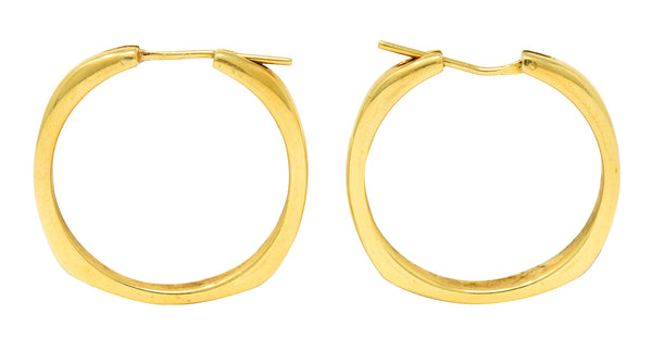 Tiffany & Co. Contemporary 18 Karat Gold Square Cushion Hoop Earrings