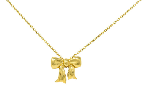 1990's Tiffany & Co. Vintage 18 Karat Gold Bow Pendant Necklace