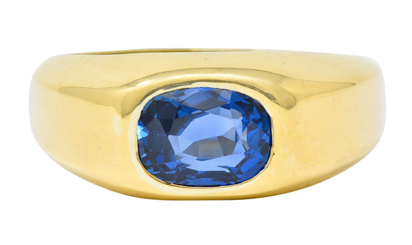 Schlumberger Tiffany & Co. Vintage 3.49 Ctw No Heat Ceylon Sapphire 18 Karat Gold Unisex Ring