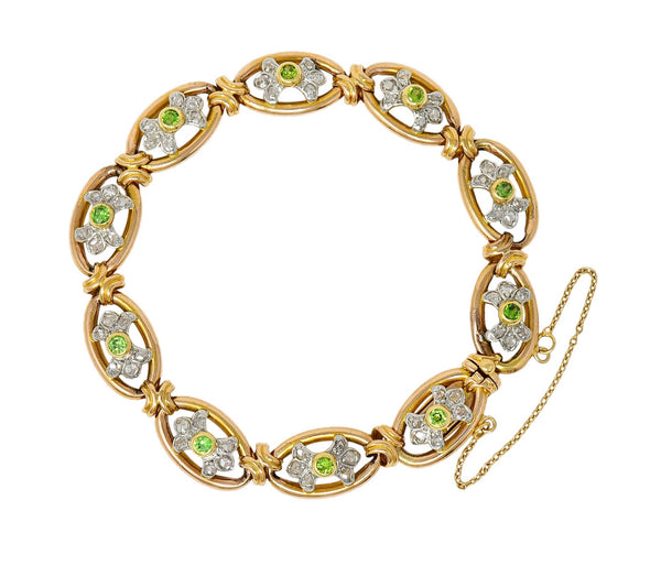 French Edwardian Demantoid Garnet Diamond Platinum-Topped 18 Karat Gold Link Bracelet
