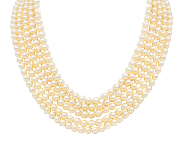 1960's Pearl Sapphire 18 Karat White Gold Five Strand Necklace