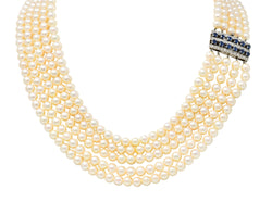1960's Pearl Sapphire 18 Karat White Gold Five Strand Necklace - Wilson's Estate Jewelry
