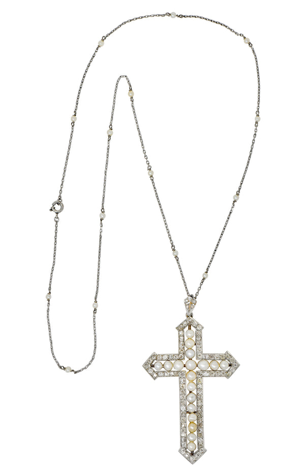 Edwardian 3.00 CTW Diamond Pearl Platinum-Topped 18 Karat Gold Cross Pendant Necklace