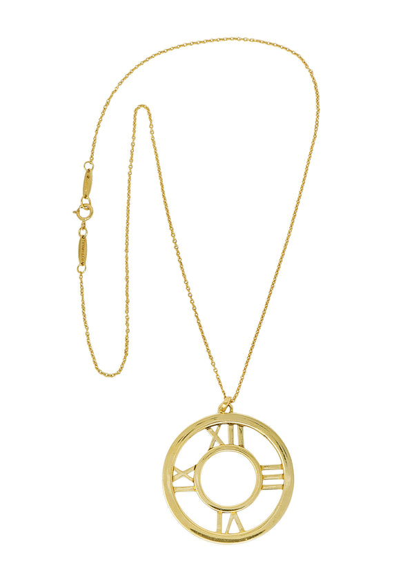 2003 Tiffany & Co. 18 Karat Gold Circular Atlas Pendant Necklace