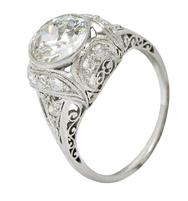Edwardian 2.05 CTW Diamond Platinum Filigree Engagement Ring GIA