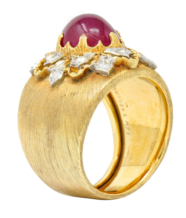 Buccellati 4.95 CTW Ruby Diamond 18 Karat Gold Italian Cluster Ring